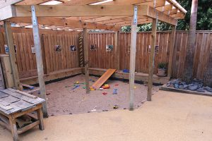 in ground level built-in sand pit in a school